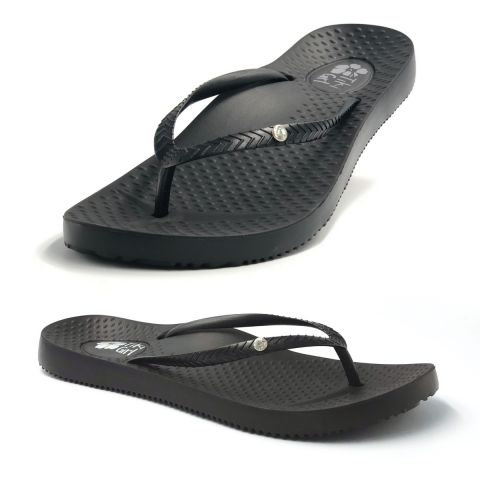 Tiki Girl Flip-Flops BLACK